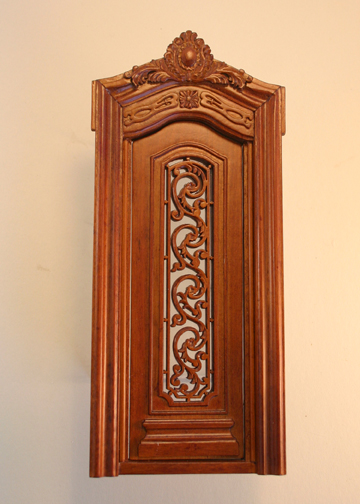 Majestic Mansions Miniature Walnut Pollinade Carved Single Door 1:12 scale