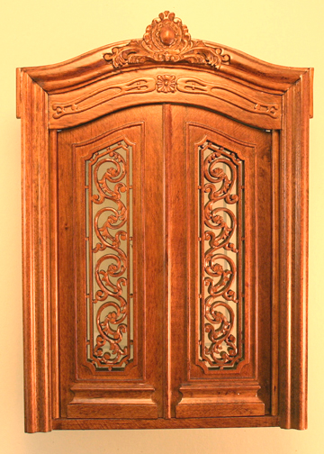 Majestic Mansions Miniature Walnut Pollinade Carved Double Door 1:12 scale