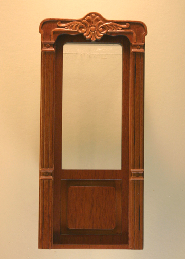 Majestic Mansions Miniature Walnut Mc Allister Carved Exterior Door 1:12 scale