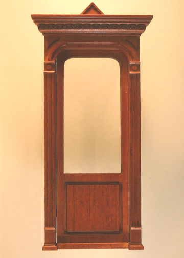 Majestic Mansions Miniature Walnut Golden Gate Decorated Single Door 1:12 scale