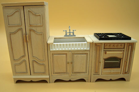 Bespaq Miss Paula's Unfinished Three Piece Kitchen Set 1:12 scale