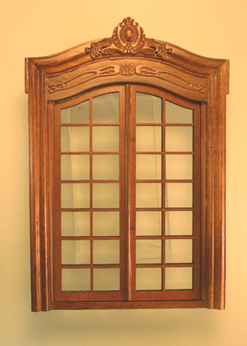Majestic Mansions Miniature Walnut Pollinade Double French Door 1:12 scale