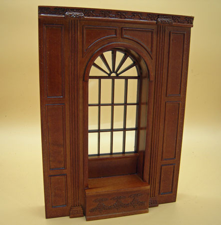 Miniature Bespaq Walnut Manor Window Panel Unit 1:12 scale