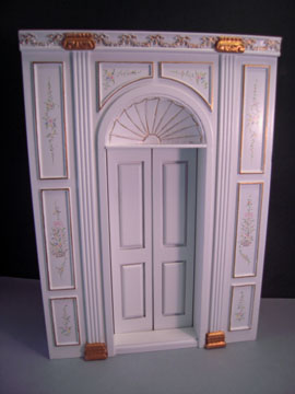 Miniature Bespaq Hand Painted White Manor Door Unit 1:12 scale