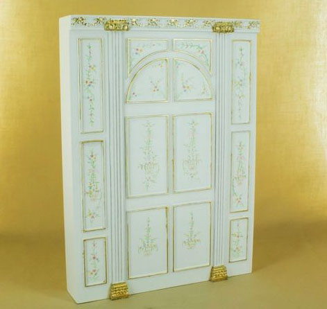 Miniature Bespaq Hand Painted White Manor Decorative Panel Unit 1:12 scale