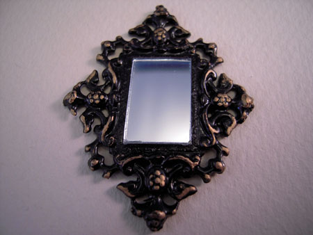 Gold Ornate Framed Wall Mirror 1:24 scale