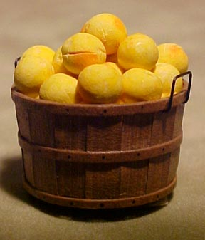 Fresh Peaches In A Bushel Basket 1:12 scale
