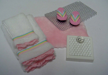 Fabulous Handcrafted Complete Pink Bath Set 1:12 scale