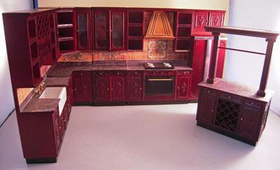 Bespaq Mahogany Bluette Provencial Kitchen Set 1:12 scale