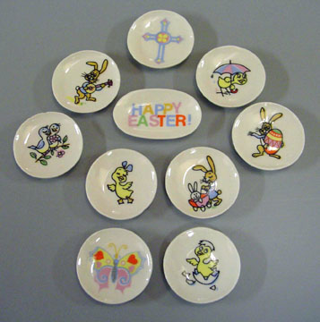By Barb Ten Piece Decorative Easter Plates 1:12 scale