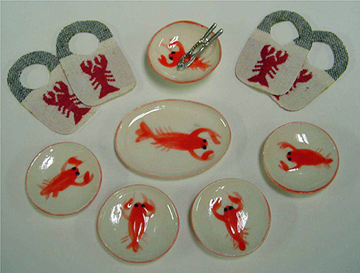 By Barb Lobster Dinner Set 1:12 scale