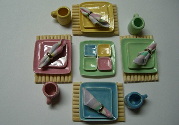 Handcrafted Pastel Square Dinner Set 1:12 scale