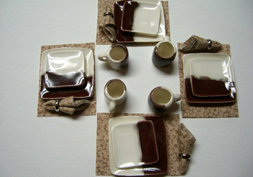Handcrafted Brown on White Square Dinner Set 1:12 scale