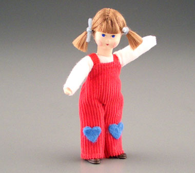 Erna Meyer Poseable Toddler Girl In Red Overalls 1:12 scale