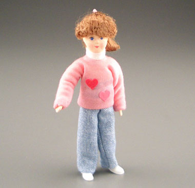 Erna Meyer Poseable Young Girl In A Pink Sweater 1:12 scale