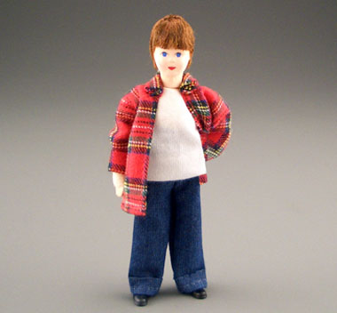 Erna Meyer Poseable Teen Boy In A Plaid Shirt 1:12 scale
