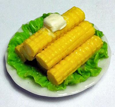 Bright deLights Plate Of Buttered Corn On The Cob 1:12