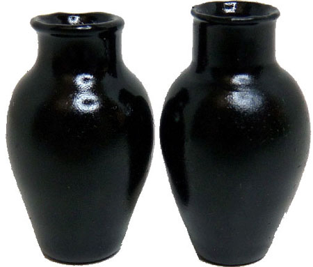 Bright deLights Pair Of Black Glass Vases 1:12