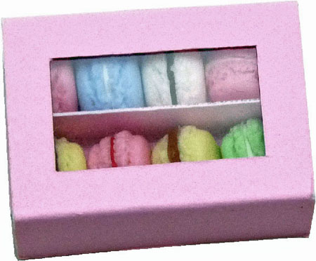 Bright deLights Coconut Macaroons in a Pink Box 1:12