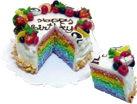 Bright deLights Cut Rainbow Birthday Cake 1:12 scale