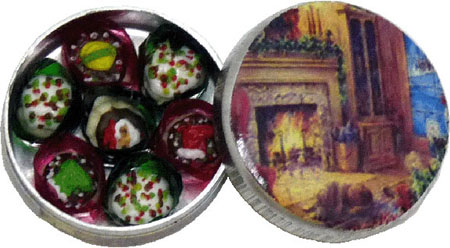 Bright deLights Christmas Cookies in a Cozy Fireplace Tin 1:12