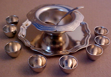 Punch Bowl Set by Clare Bell Brass 1:12 scale