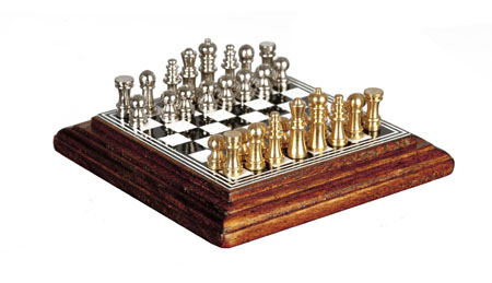Miniature Walnut Chess Set On A Board 1:12 scale