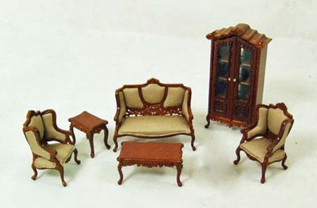 Miniature Six Piece Fancy Walnut Living Room Set 1:24