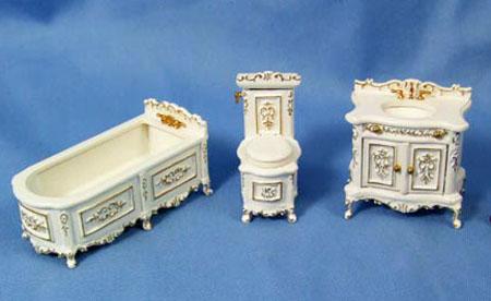 1:24 Scale Miniature Three Piece White Bathroom Set