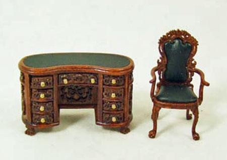 1:24 Scale Carved Walnut Two Piece Kidney Desk Set