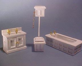 Half Scale High Flush Bathroom 3 Piece Set Miniature