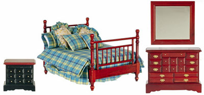 Townsquare Mahogany 4 Piece Double Bed Set 1:12 scale