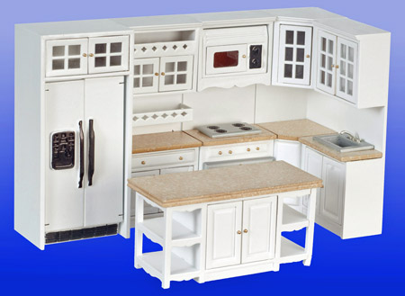 Townsquare Eight Piece White Kitchen Set 1:12 scale