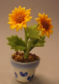 Bright deLights Sunflowers In A Pot 1:12 scale