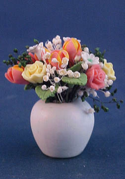 Bright deLights Spring Flowers In A White Vase 1:12 scale