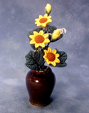 Bright deLights Sun Flowers In A Brown Vase 1:12 scale