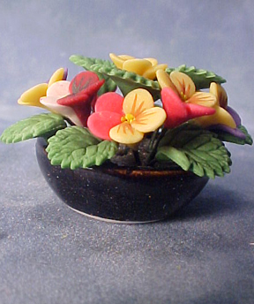 Bright deLights Pansies in Ceramic Bowl 1:12 scale
