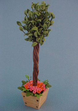 Bright deLights Ficus In Floral Filled Planter 1:12 scale