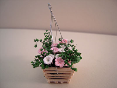Bright deLights Pink and White Floral Hanging Planter 1:12 scale