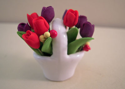 Bright deLights Red and Purple Tulips in a Ceramic Basket 1:12 scale