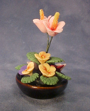 Bright deLights Pansies and Lilies in Ceramic Bowl 1:12 scale