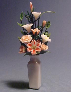 Falcon Flowers In A Tall White Vase 1:12 scale