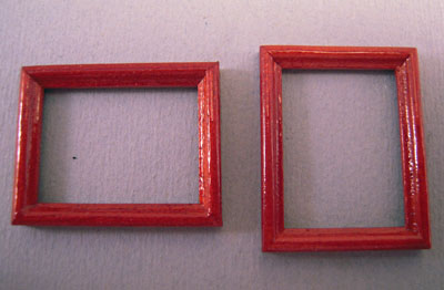 Miniature Pair Of Mahogany Picture Frames 1:24 scale