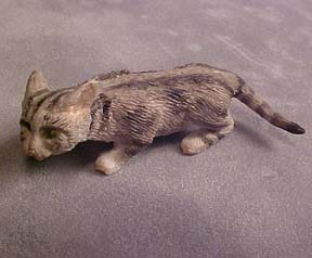 Crouching Gray Tabby Cat 1:12 scale