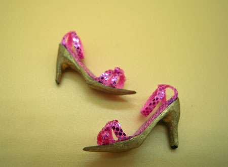 Falcon Fuchsia and Gold High Heel Shoes 1:12 scale