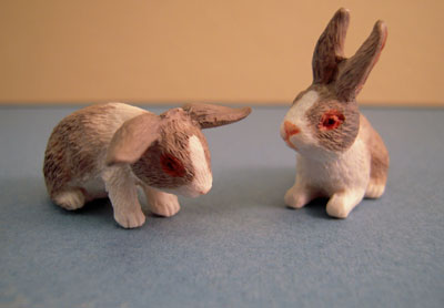 Two Piece Light Gray Bunny Set 1:12 scale