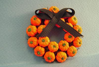 Bright deLights Halloween Pumpkin Wreath 1:12 scale