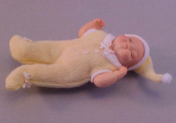 Falcon Sleeping Baby In Yellow Doll 1:12 scale