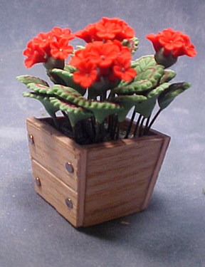 Bright deLights Red Geraniums In A Planter Box 1:12 scale