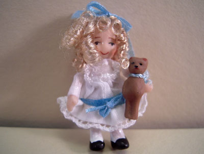 Ethel Hicks Angel Children Goldilocks with Her Teddy Bear Limited Edition Doll 1:12 scale